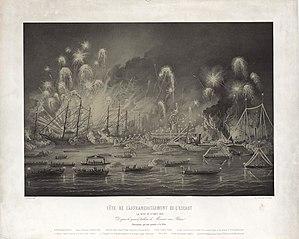 Onafhankelijkheidsfeest op de Schelde bij Antwerpen op 1 augustus 1863