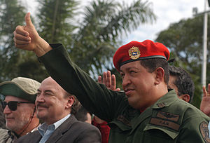 Authoritarian socialism - Hugo Chávez wearing standard military fatigues in 2010.