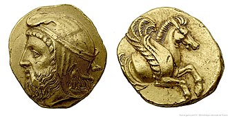 Orontid dynasty - Orontes I Gold coin held at the National Library, Paris, dated to 362 BC.