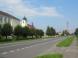 Main street and the Church of the Exaltation of the Holy Cross