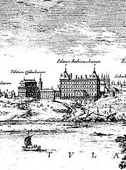 Kazanowski Palace (right) and Ossoliński Palace (left) in Warsaw. They were both plundered and burned down by Swedes and Germans of Brandenburg in 1650s.