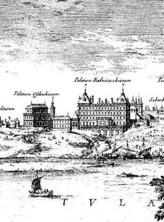 Jerzy Ossoliński - Ossoliński Palace (left) and Kazanowski Palace (right) in Warsaw. They were both plundered and burned down by Swedes and Germans of Brandenburg in 1650s.