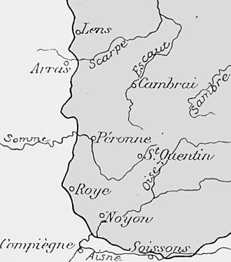 Battle of Albert (1914) - Image: Outline of the Noyon Salient formed in September 1914