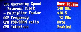 Overclocking action of increasing a components clock rate