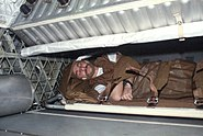 Owen Garriott sleeping during SKylab 3