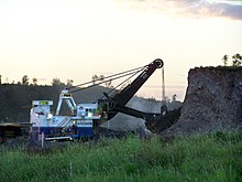 Coal strip mine hydraulic shovel ready