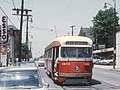 PAAC PCC 1676 a -13 EMSWORTH car on Lincoln Ave. near Fremont Ave. in Bellevue, PA on June 26, 1965 (26649280642).jpg