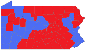 United States presidential election in Pennsylvania, 1992 - Image: PA 1992 pres counties
