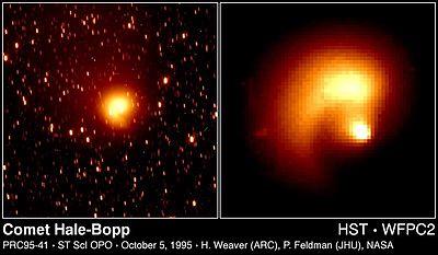 Imagens do Hale-Bopp obtidas a partir do Telescópio Hubble, onde surge o que parece ser um núcleo duplo