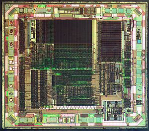 PIC microcontroller - Die of a PIC16C505 CMOS ROM-based 8-bit microcontroller manufactured by Microchip Technology using a 1200 nanometre process