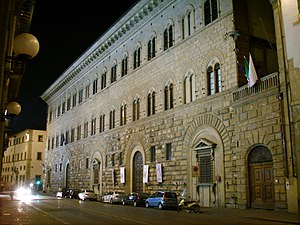 Palazzo Medici Riccardi - The palace's Renaissance facade with its rusticated stone walls.