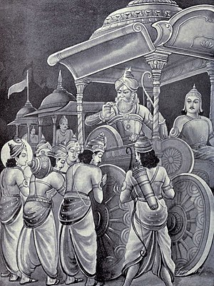 Bhishma Parva - Pandavas headed by Yudhishthira meet Bhishma in the battlefied before the start of Kurukshetra war. They ask for the enemy commander's permission to fight his army and him, to death.