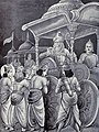 Pandavas headed by Yudhistira and accompanied by Krishna ask Bhishma permission to start the war.jpg