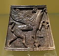 Panel from a box with a griffin and a sacred tree, excavated at Nimrud, Northern Mesopotamia (Iraq), Neo-Assyrian dynasty, c. 800 BC, ivory - Royal Ontario Museum - DSC04636.JPG