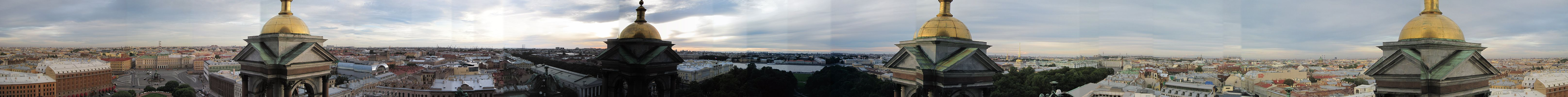 A panorama of Saint Petersburg from the St. Issac's Cathedral.