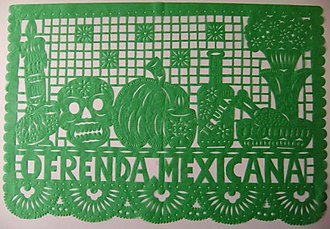 Papel picado - A Day of the Dead themed papel picado created for an Ofrenda.