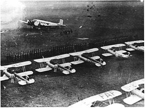 Celle Air Base - Parade formation of the flying school in 1935 with Junkers Ju-52, Focke-Wulf Fw-44 and Heinkel He-72.