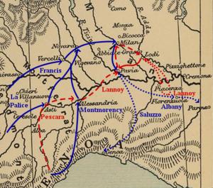 Italian campaign of 1524–25 - Image: Pavia campaign (1524 25)