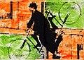 """Pedro Meier Alfred Jarry, Ur-Dadaist, """"König Ubu"""" auf Veloziped. Mischtechnik auf Papier auf Leinwand 2016. Foto © Pedro Meier Multimedia Artist.jpg"""