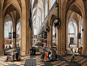 Pieter Neefs the Elder - A church interior with elegant figures strolling and figures attending mass