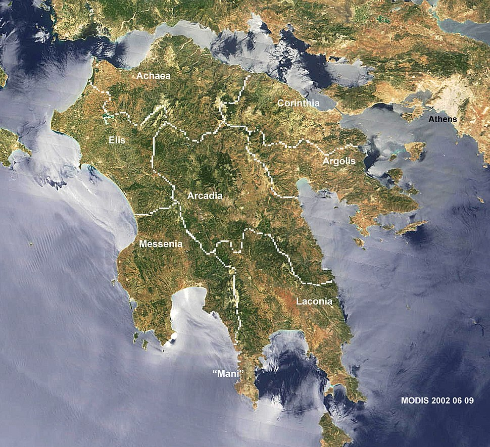 Peloponnese-Map satview BlueMarbleProject