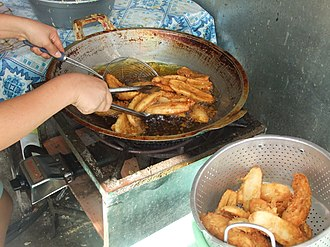 Pisang goreng - Frying banana in Rantepao, Indonesia