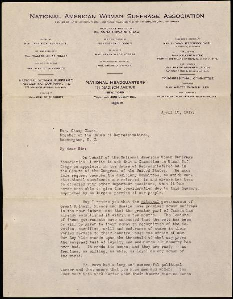 File:Petition from Carrie Chapman Catt of the National American Woman Suffrage Association.djvu