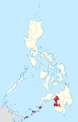 Map of the Philippines highlighting the Autonomous Region in Muslim Mindanao