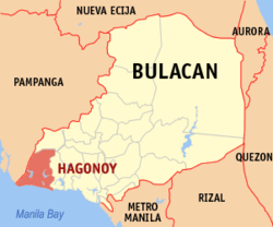 Map of Bulacan with Hagonoy highlighted