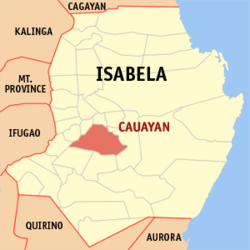Map of Isabela showing the location of Cauayan