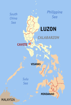 Map o the Philippines wi Cavite heichlichtit