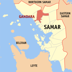 Map of Samar with Gandara highlighted