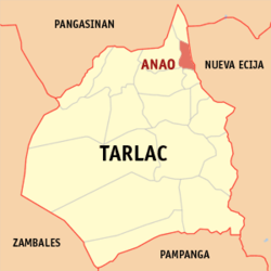 Map of Tarlac showing the location of Anao