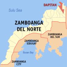 Zamboanga del Norte na pinapakita ang lokasyon ng Lungsod ng Dapitan