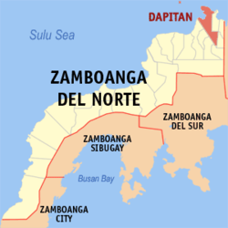 Map of Zamboanga del Norte showing the location of Dapitan