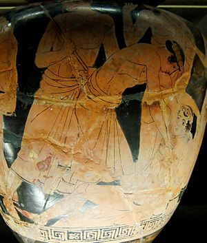 Philoctetes - Philoctetes, wounded, is abandoned by the Greek expedition en route to Troy, detail of an Attic red-figure stamnos ca. 460 BC (Musée du Louvre)
