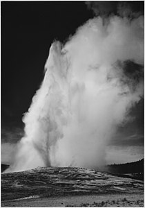 Photograph of Old Faithful Geyser Erupting in Yellowstone National Park - NARA - 519994.jpg