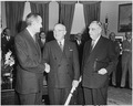 Photograph of President Truman in the Oval Office shaking hands with W. Averell Harriman, the new Director of the... - NARA - 200362.tif