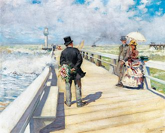 Pierre-Georges Jeanniot - The Wal on the Piers, 1880s, Private Collection
