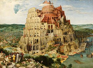 Nimrod - Pieter Bruegel's The Tower of Babel depicts a traditional Nimrod inspecting stonemasons.