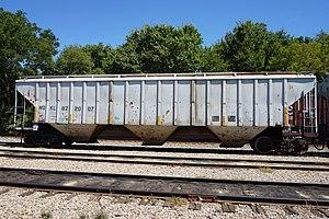 Hopper car - American hopper car at Pittsburg, Texas, in 2015