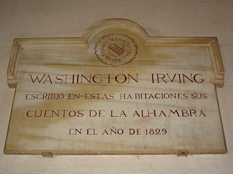 """Tales of the Alhambra - Commemorative plaque at the Alhambra, saying """"Washington Irving wrote his Tales of Alhambra in these rooms in 1829"""" in Spanish"""