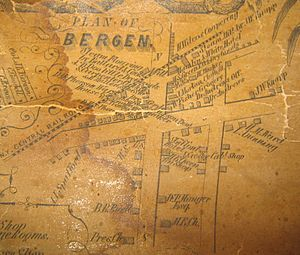 Bergen, New York - Downtown Bergen in 1854
