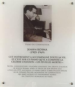 Photo of Joseph Kosma white plaque