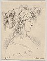 Plate 15- mid-bust of a young woman in profile wearing a hat topped with feathers, from 'The Book for Learning to Draw' (Livre pour apprendre à dessiner) MET DP831144.jpg