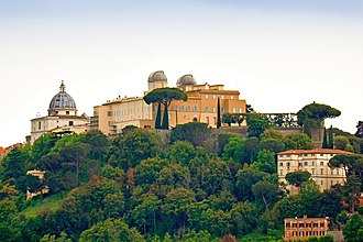 Papal Palace of Castel Gandolfo - Palace of Castel Gandolfo with the domes of the Vatican Observatory