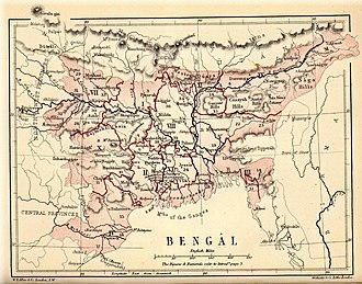 Partition of Bengal (1905) - Map showing the modern day nation of Bangladesh and Indian states of Bihar, Jharkhand, Orissa, Assam, Meghalaya, Arunachal Pradesh and parts of Nagaland and Manipur within the Province before division into Bihar and Orissa and East Bengal and Assam