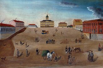 Pori - Old town hall and market square in 1852 painting