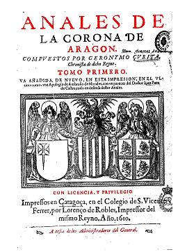 Portada de los Anales de la Corona de Aragón