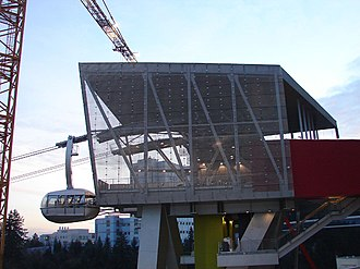 Portland Aerial Tram - A tram car docking with the upper terminal
